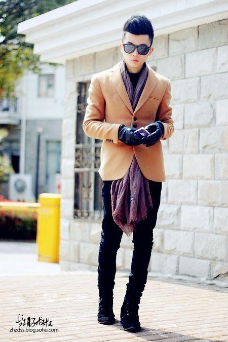 超级贴身的卡其色西装外套 帅呆啦
